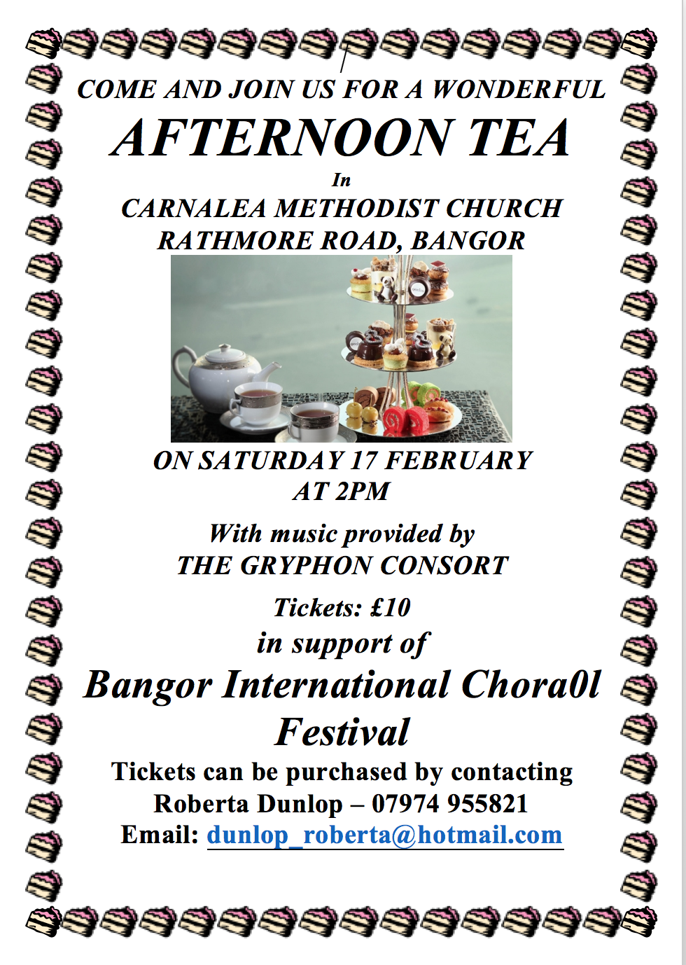 Bangor Choral Fesitival  Afternoon Tea fundraiser